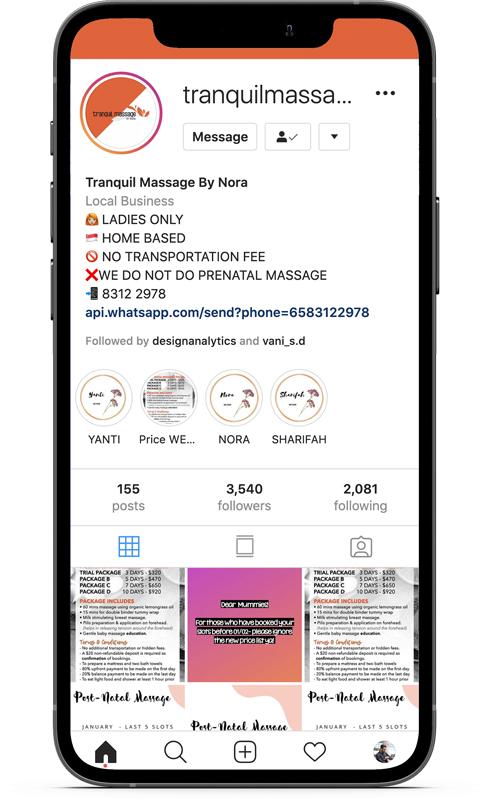 Design & Analytics portfolio-tranquil_iphone_instagram Tranquil Massage by Nora